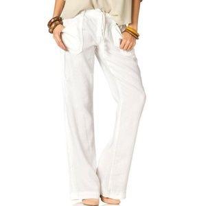 Miss Me White Linen Drawstring Pants